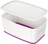 Cutie pentru depozitare MyBox mica cu capac Leitz alb/mov