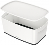 Cutie pentru depozitare MyBox mica cu capac Leitz alb/negru