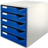 Suport cu 5 sertare albastre A4 standard Leitz