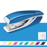 Capsator metalic, WOW 5528 Mini NeXXt Series, 10 coli, albastru metalizat, Leitz