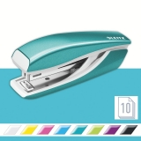 Capsator metalic, WOW 5528 Mini NeXXt Series, 10 coli, turcoaz metalizat, Leitz