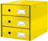 Suport cu 3 sertare Click & Store WOW Leitz galben metalizat