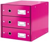 Suport cu 3 sertare Click & Store WOW Leitz roz metalizat