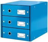 Suport cu 3 sertare Click & Store WOW Leitz albastru metalizat