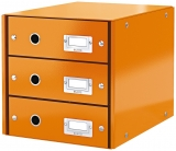 Suport cu 3 sertare Click&Store WOW Leitz portocaliu metalizat