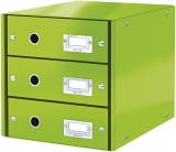 Suport cu 3 sertare Click & Store WOW Leitz verde metalizat