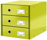 Suport cu 3 sertare Click&Store WOW Leitz verde metalizat