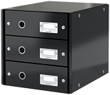 Suport cu 3 sertare Click & Store WOW Leitz negru metalizat