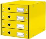 Suport cu 4 sertare Click & Store WOW Leitz galben metalizat