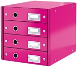 Suport cu 4 sertare Click & Store WOW Leitz roz metalizat