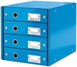 Suport cu 4 sertare Click & Store WOW Leitz albastru metalizat