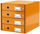 Suport cu 4 sertare Click&Store WOW Leitz portocaliu metalizat