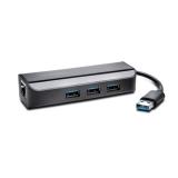 Adaptor Ethernet UA3000E USB 3.0 si hub cu trei porturi Kensington