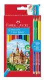 Creioane colorate 12+3 culori si ascutitoare Faber-Castell