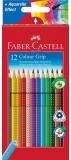 Creioane colorate 12 culori Grip 2001 cutie carton Faber-Castell