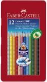 Creioane colorate 12 culori Grip 2001 cutie metal Faber-Castell