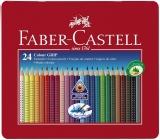 Creioane colorate 24 culori Grip 2001 cutie metal Faber-Castell