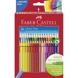 Creioane colorate 36 culori Grip 2001 Faber-Castell