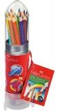 Set racheta 15 creioane colorate grip + ascutitoare Faber-Castell