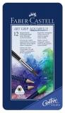 Creioane colorate 12 culori Aquarelle Art Grip cutie metal Faber-Castell