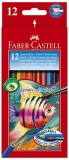 Creioane colorate 12 culori acuarela + pensula Faber-Castell