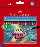 Creioane colorate 24 culori acuarela + pensula Faber-Castell