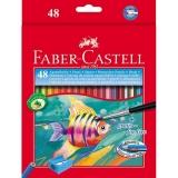 Creioane colorate 48 culori acuarela + pensula Faber-Castell