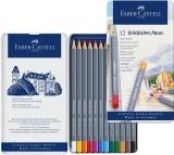 Creioane colorate Aquarelle 12 culori Goldfaber cut. metal Faber-Castell
