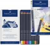 Creioane colorate 12 culori Goldfaber cutie metal Faber-Castell