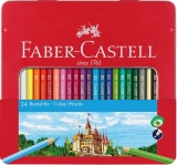 Creioane Colorate cutie metal 24 culori/set Faber-Castell