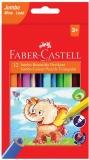 Creioane colorate triunghiulare Jumbo 12 culori Faber-Castell