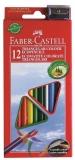 Creioane colorate 12 culori triunghiulare cu ascutitoare eco Faber-Castell