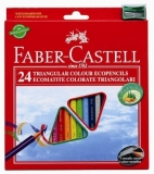 Creioane colorate 24 culori triunghiulare cu ascutitoare eco Faber-Castell