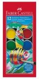 Acuarele 12 culori 30 mm + pensula Faber-Castell