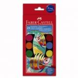 Acuarele 21 culori 30 mm + Pensula Faber-Castell