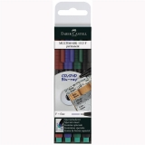 Marker Permanent F Multimark, 4 culori/set Faber-Castell