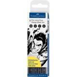 Marker caligrafic Pitt Artist Pen Manga Negru 4 buc/set Faber-Castell