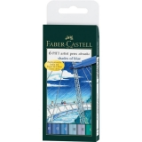 Marker caligrafic Pitt Artist Pen Shades of Blue 6 buc/set Faber-Castell