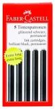 Cartuse cerneala mici negre 5 bucati/set Faber-Castell