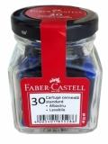 Patroane cerneala mici, albastru, in borcan, 30 buc/set Faber-Castell