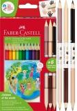 Creioane colorate triunghiulare Children of the World 12 + 3 culori/set Faber-Castell