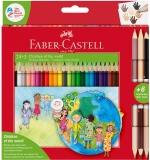 Creioane colorate triunghiulare Children of the World 24 + 3 culori/set Faber-Castell