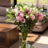 Buchet Lyon, 17 fire, Spray Roses lila si Alstromeria