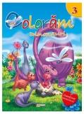 Carte de colorat cu abtibilduri Coloram 3 - Dinozauri