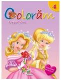Carte de colorat cu abtibilduri Coloram 4 - Printese