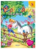 Carte de colorat cu abtibilduri Coloram 5 - Cai si ponei