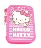 Penar neechipat 2 fermoare Hello Kitty roz cu dungi Pigna
