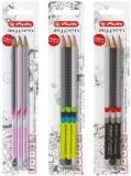 Creioane grafit triunghiulare lacuite My.Pen, H, HB, B, diverse culori 3 buc/set Herlitz