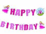 Ghirlanda carton Happy Birthday 2 m Princess Herlitz