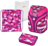 Ghiozdan fete, echipat, Motion Plus Pink Cubes Herlitz